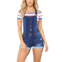 Womens Overalls Shorts Blue Creative Medium Wash Distressed Front Button Detail Rolled Cuffs Slim Fitted Overalls Shorts