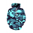Stylish 3D Camo Pattern Basic Long Sleeve Pullover Drawstring Hoodie