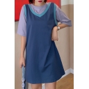 Casual Patchwork Fake Two Pieces Round Neck Short Sleeve Mini Swing T Shirt Dress for Women
