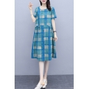 Casual Womens Plaid Printed Linen and Cotton Short Sleeve Round Neck Button Up Mid Swing Dress