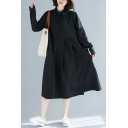 Simple Womens Solid Color Long Sleeve Point Collar Button Up Mid Pleated Swing Shirt Dress in Black