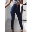 Womens Jeans Creative Medium Wash Stretch Mention Hip Single-Breasted Slim Fit 7/8 Length Tapered Jeans