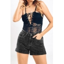 Womens Shorts Black Fashionable Snowflake Wash Rolled Cuffs High Rise Zipper Fly Slim Fitted Denim Shorts