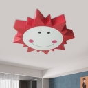 LED Playroom Flushmount Lighting Modernism Red Ceiling Mounted Fixture with Sun Metal Shade in Warm/White Light
