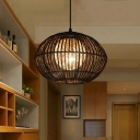 Bamboo Global Cage Ceiling Pendant Asia Style 1 Bulb 16