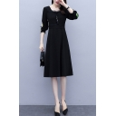 Black Stylish Patchwork Floral Embroidery Stringy Selvedge Tie Front Gathered Waist Square Neck Long Sleeve Midi A-Line Dress for Women