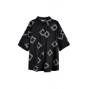 Street Ladies Geometric Printed 3/4 Sleeve Spread Collar Button Up Oversize Tunic Shirt Top