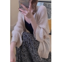 Simple Ladies Solid Color Blouson Sleeve Open Front Loose Fit Knitted Cardigan