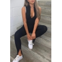 Womens Fancy Jumpsuits Piping Mock Neck Zip Placket Side Slit Sleeveless Full Length Skinny Jumpsuits