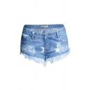 Womens Blue Shorts Chic Star Pattern Fringe Cuffs Low Rise Regular Fitted Zipper Fly Denim Short Shorts