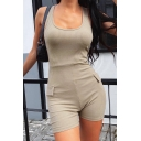 Womens Fancy Rompers Plain Patched Detail Rib Knit Scoop Neck Sleeveless Short Skinny Rompers