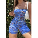 Fashion Rompers Tie Dye Multicolored Butterfly Insect Pattern Sleeveless Strap Skinny Seamless Short Stretch Rompers for Women