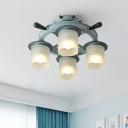 Dimpled Glass Column Ceiling Light Kids 4-Bulb Blue Semi Flush Chandelier with Rudder Design