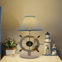 Blue Conical Nightstand Lamp Coastal 1-Light Fabric Task Lighting with Resin Rudder Base