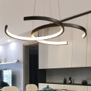 Double C Metal Chandelier Light Fixture Simplicity LED Black/White Suspension Pendant in Warm/White Light