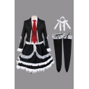 Cosplay Girls Lace-up Stringy Selvedge Long Sleeve Notched Collar Blazer Tiered Shirt Dress Tie Socks Set in Black