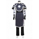 Anime Cosplay Contrasted Short Sleeve Cape Striped Tee Top Coat Belted Long Straight Pants Co-ords in Gray