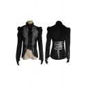 Gothic Womens Velvet Flower Printed Puff Long Sleeve Stand Collar Button Up Irregular Hem Lace Up Back Regular Jacket in Black