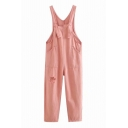 Women's Fancy Overalls Plain Strap Snap Detail Sleeveless Pockets Ripped Denim Overalls in Pink
