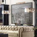 Black Drum Floor Stand Lamp Minimal Beveled Crystal Block 1-Bulb Living Room Floor Light