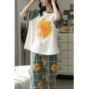 Stylish Womens Daisy Printed Color Block Raglan Short Sleeve Crew Neck Relaxed T-Shirt & Plaid Pattern Elastic Waist Ankle Length Wide Leg Pants Pajama Set in Green