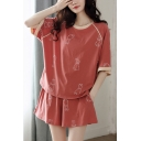 Pop Ladies All Over Printed Contrast Trim Crew Neck Half Sleeve Plus Size Tee Top & Shorts Pajama Set in Red
