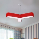 Y-Shape Chandelier Light Simplicity Acrylic Yellow/Red/Blue LED Pendant Lamp Fixture for Sleeping Room