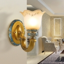 Gold 1 Bulb Wall Light Fixture Countryside White Glass Scalloped Wall Lighting Ideas