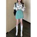 Trendy Girls All-over Floral Printed Long Sleeve Spread Collar Button-up Relaxed Fit Shirt