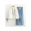 Trendy Ladies Maple Leaf Japanese Letter Embroidered Drawstring Tie Cuff Bell Long Sleeve Loose Fit Hoodie & Elasticated Drawstring Waist Pockets Fringed Hem Straight Fit Jeans Set