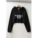 Chic Ladies Angel Print Zipper Front Drawstring Frayed Hem Long Sleeve Relaxed Fit Cropped Hoodie