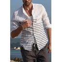 Men's Casual Stripe Printed Long Sleeves Chest Pocket Loose Fit White Shirt
