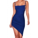 Sexy Ladies Solid Color Spaghetti Straps Cut out Irregular Hem Ruched Mini Fitted Slip Dress