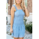 Girls Cute Ditsy Floral Printed Stringy Selvedge Ruffled Short A-line Cami Dress in Blue