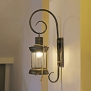 1-Light Wall Lighting Ideas Vintage Corridor Wall Lamp with Kerosene Clear Glass Shade in Antique Bronze