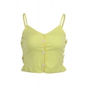 Hot Yellow Butterfly Patched Sleeveless V-neck Button up Pleated Fit Crop Cami for Girls
