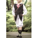 Mens Retro Cosplay Co-ords Vest Suit Knee Length Shorts Loose Fitted Co-ords with Tie