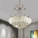 Cut Crystal Cascade Chandelier Lamp Modern 8 Bulbs Hanging Ceiling Light with Curved Arm in White