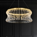 LED Living Room Suspension Light Simplicity Gold Chandelier with Curved Drum Crystal Shade