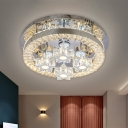 LED Parlor Semi Flush Mount Lighting Modernist Silver Ceiling Light with Star/Arc Clear Crystal Block Shade