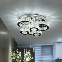 Chrome Circle Semi Mount Lighting Modern Faceted Crystal LED Close to Ceiling Light in Warm/White Light