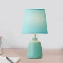 1 Head Pink/Blue/Green Barrel Desk Lamp Minimalism Fabric Nightstand Light with Vase Porcelain Base