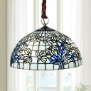 Blue and White Cut Glass Pendant Lighting Lattice Dome 3 Heads Tiffany Style Chandelier Light with Petal Pattern