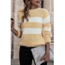 Yellow Chic Striped Color Block Round Neck Long Sleeve Loose Fit Knitwear Pullover Sweater for Ladies