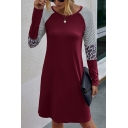 Leisure Womens Stripe Leopard Printed Long Sleeve Round Neck Twist Hem Short Shift T Shirt Dress
