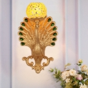Global Corridor Wall Light Fixture Country Crackle Glass 1 Head Gold Wall Lighting Ideas with Resin Peacock Backplate