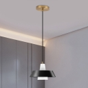 Minimalist Cone Hanging Ceiling Light Cream Glass 1 Head Bedside Pendant Lamp in Black/White/Green