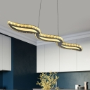 Minimal LED Island Pendant Light Silver Twisted Hanging Lamp Kit with Clear Crystal Shade