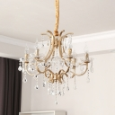 Candelabra Dining Room Chandelier Lamp Traditional Metal 4 Bulbs Gold Hanging Light Fixture with Crystal Accent