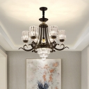 Clear Crystal Cylinder Chandelier Contemporary 6/8 Heads Black Hanging Light Kit with Swooping Arm